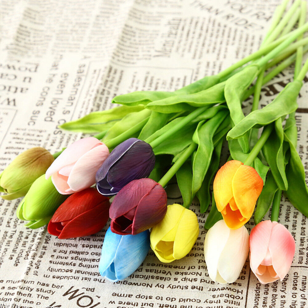 For Decoration Decorative Touch Real Artificial Flowers Bouquet Home Tulip