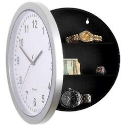 NEW Silver Wall Clock with Hidden Safe 82-4985 (306)