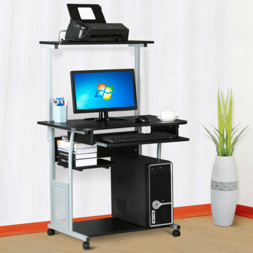 Rolling Computer Desk w/ Printer Shelf Laptop Writing Study Table Home Office