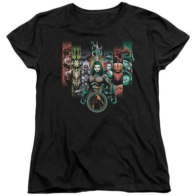 Top Female Movie Characters (Aquaman Movie Womens T-Shirt Characters Black)