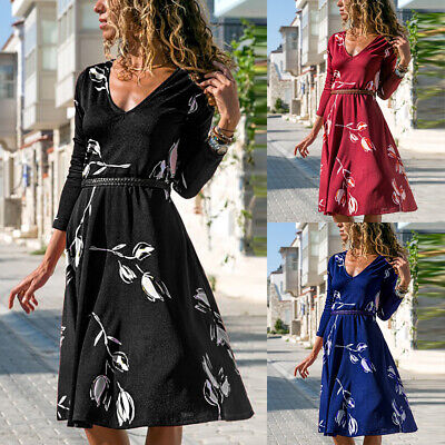Womens Floral Long Sleeve V Neck Midi Dress Ladies Holiday A-Line Swing Dresses
