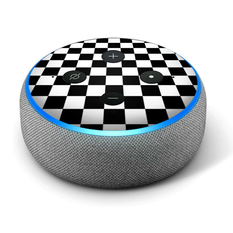 Vinyl Decal Skin for Amazon Echo Dot 3rd Gen - Black and White Checkers
