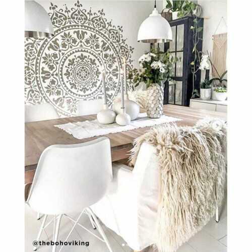 Mandala Stencil Prosperity - Mandala Stencils for Furniture, Walls, or Floors