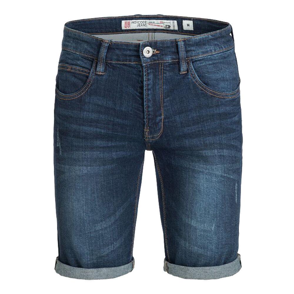 Indicode Herren Jeans Shorts Kaden Denim kurze Hose Bermuda sDark Blue (navy)