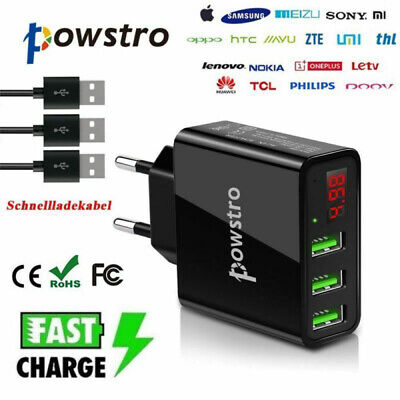 Schnellladegerät 3 fach USB Wand Adapter Netzstecker + Kabel Für Handy DE (Usb-kabel Wand-adapter)