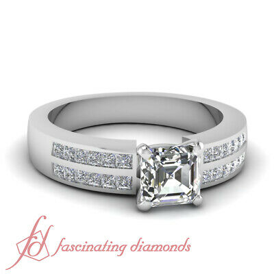 .86 TCW. Asscher Cut VS1-F Diamond Channel Set Two Row Engagement Ring 14K GIA