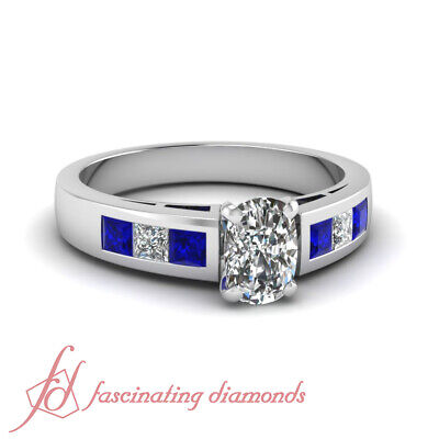Blue Sapphire And Diamond Rings With 1.35 Ct Cushion And Princess Cut 14K GIA