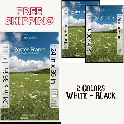 24x36 Movie Poster Picture Frame Photo Art Deco Wedding Birthday Blk/Wte-2 pack ()
