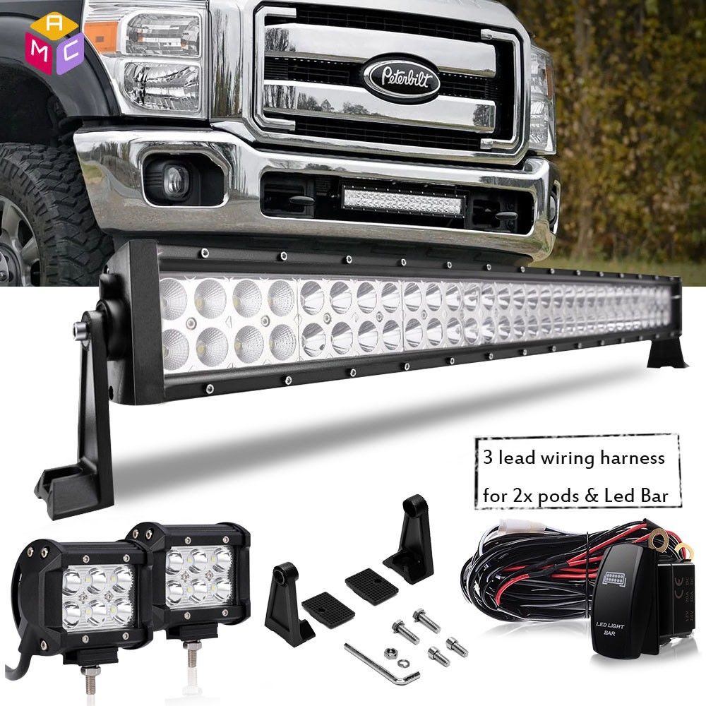 32inch Led Light Bar Super Duty Front Bumper Grill Fit 2008 2010 89 Ford F 250 Wiring Harness Kit Product Display
