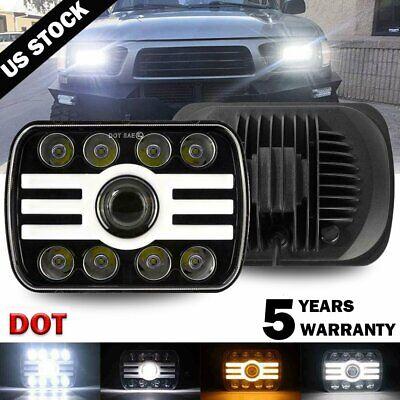 "H6054 7x6"" 5x7"" LED Headlight Hi/Lo Beam Halo DRL For CMC Savana 1500 2500 3500"