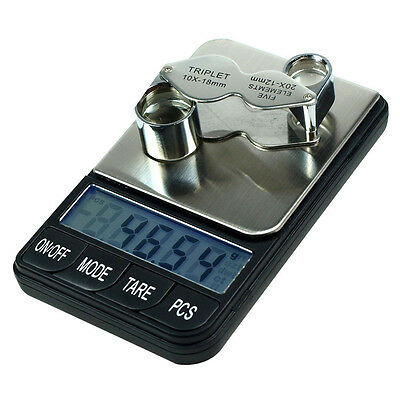 200g x 0.01g Digital Precision Jewelry Scale with 10x - 20x Jeweler's Loupe