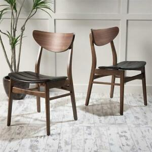 NEW Christopher Knight Home 298946 Anise Leather/Walnut Finish Dining Chair (Set of 2), Dark Brown Condition: New