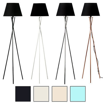 Camden Tripod Floor Lamp Black / White / Chrome / Copper Base + 4 Shade Colours