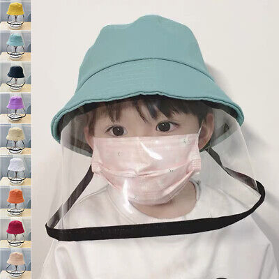 Candy Color Safety Full Face Shield Protective Bucket Hat Fisherman Cap For Kids