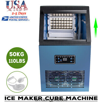 Usa Commercial Ice Maker Cube Machine Stainless Bar 110lbs 230w 110v Warranty