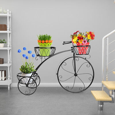 Outdoor Indoor Metal Bicycle Plant Stand Garden Planter to hold 3 pot (Metal Planter Stand)