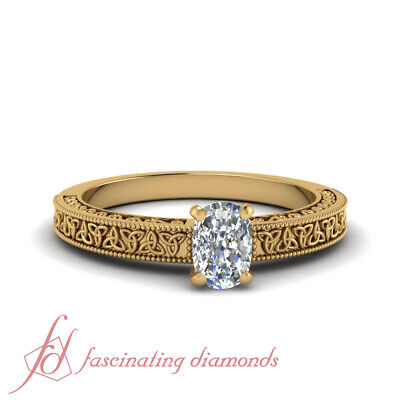 Solitaire 3/4 Carat Cushion Cut Diamond Irish Engagement Ring In 14K Yellow Gold