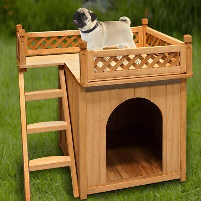 Small Dog Kennel Pet House Wooden Shelter Home Garden Puppy Steps Cage Balcony