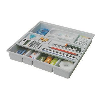 Drawer Organizer Slide Double Shelf Home Office Desk Organizer Tray Grey