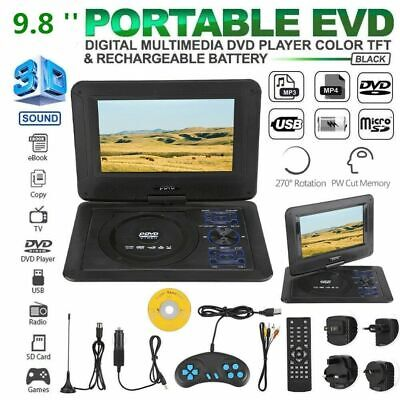 """9.8"""" 3D DVD Player Wireless Portable TV Game Play 270° Rotation FM Radio Stereo"""
