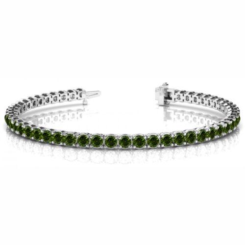 10.12 Carat  Green Si1 Round Diamond In Line Prong Set Bracelet 14k Wg For Women