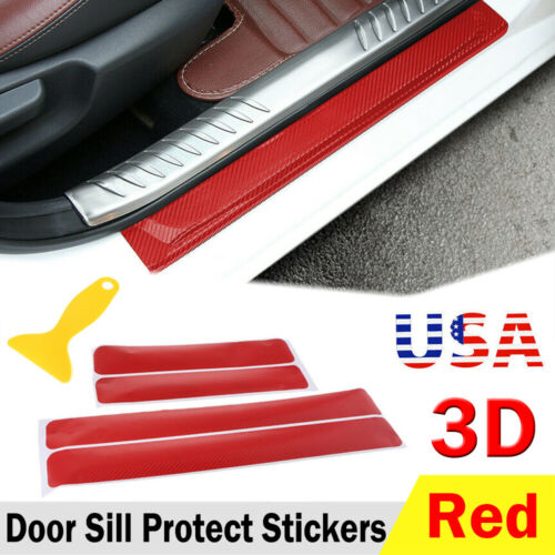 Car Parts - Parts Accessories Carbon Fiber Red Car Door Sill Scuff Plate Sticker Protector