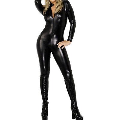 Catwoman Suit Costume (Fever Miss Whiplash Vinyl Suit Black Catsuit Catwoman Fancy Dress Costume )