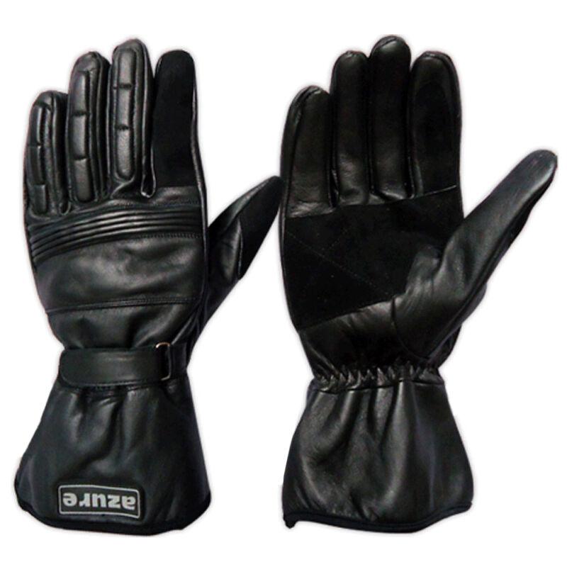 Azure Leather Motorbike Motorcycle Gloves Men Winter Glove Black Medium