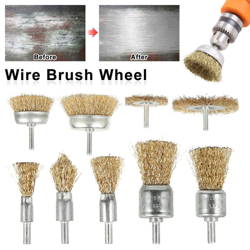 9Pcs Mini Wire Brass Brush Set for Wheel Dremel Rotary Grinder Polishing Shank