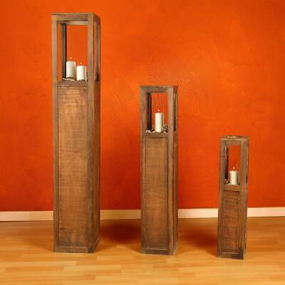 Antike Kerze Laterne (Laterne Windlicht Holzlaterne Windlichtset Säulen Kerze 3 tlg Set Landhaus Braun)