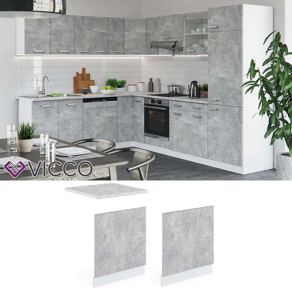 VICCO Küchenschrank Hängeschrank Unterschrank Küchenzeile R-Line Geschirrspülerblende 60 cm beton
