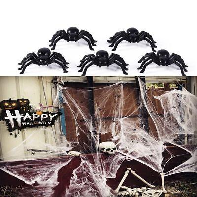 100pcs Halloween Dekoration Streich-Spielzeug Schwarze Spinne Spukhaus Prop