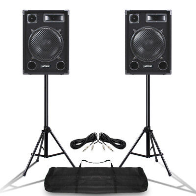 "Pair MAX SP12 12"" Mobile DJ PA Full Range Speakers w/ Stands 1400 Watt UK Stock"