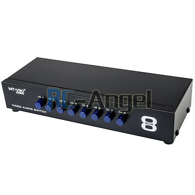 8 Ports Composite Video Audio 3 RCA AV Switch Switcher Box Selector 8 In 1 - Audio Switch 3 Ports