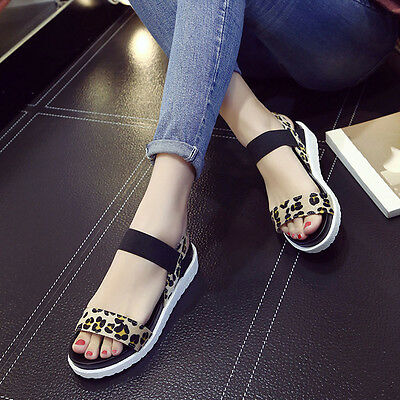 Women's Simple Artificial PU Shoes Flat-Bottomed Roman Sandals  Leather