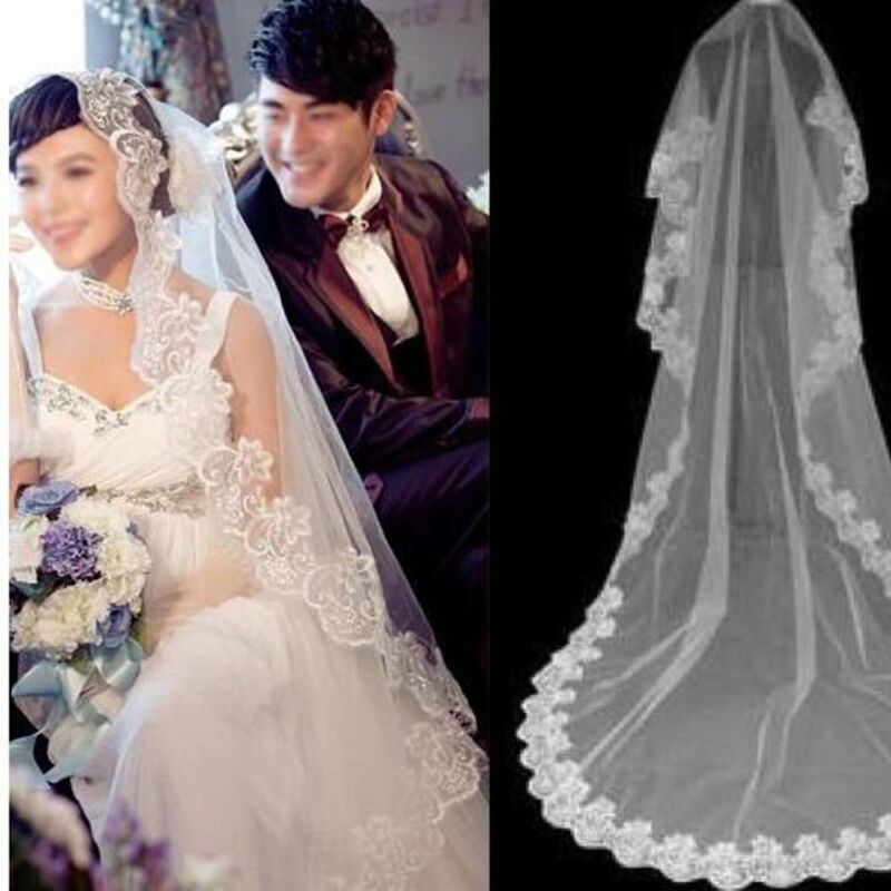 White Bridal Veil  3M Long 1 Layer Lace Edge Elegant Vintage Cathedral Wedding
