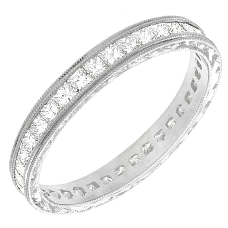 18k White Gold Princess Shape Eternity 4.00 Carat Dia Certified Diamond Ring
