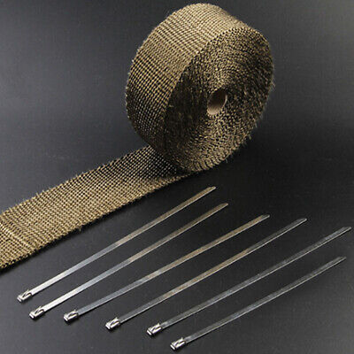 10M Exhaust Heat Wrap Manifold Downpipe High Temp Bandage Tape Roll +10 TIES