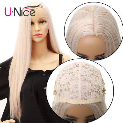 Silky Straight Synthetic None Lace Front Wigs #60 Ombre Blond Heat Resistant -