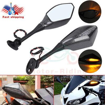 LED Integrated Turn Signals Rearview Mirror For Honda CBR 600RR Suzuki GSXR600