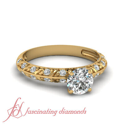 Round Cut Diamond Knife Edge Yellow Gold Engagement Ring For Women 0.90 Carat