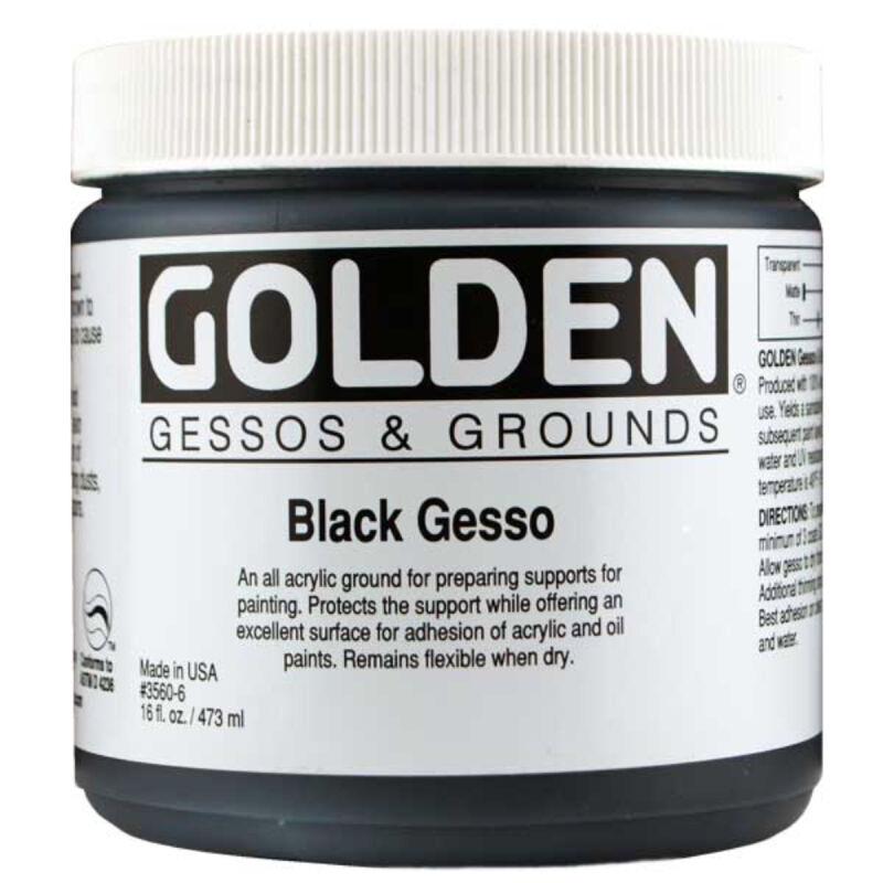 Golden Acrylic 16 Oz Black Gesso