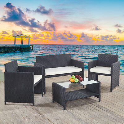 Luxury Rattan Garden Furniture Set Coffee Table And Chairs Sofa Patio Outdoor