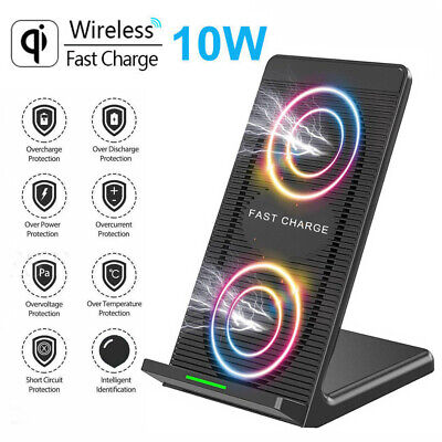 Wireless 10W Charger Fast Qi Charging Station Dock Stand for iPhone 11 X XR 8 SE