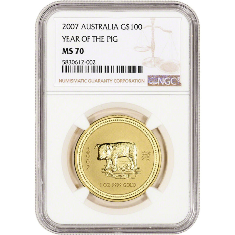 2007 Australia Gold Lunar Series I Year of the Pig 1 oz $100 - NGC MS70