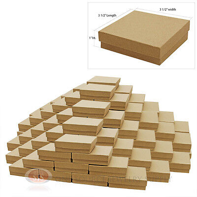 """100 Kraft Cotton Filled Jewelry Cardboard Gift Boxes  3 1/2"""" X 3 1/2"""""""