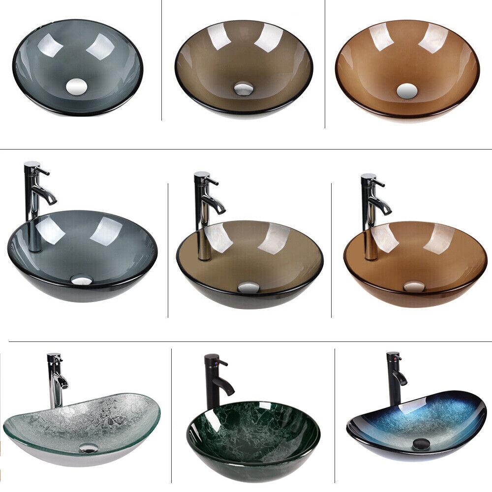 Bathroom Vessel Sink Tempered Glass Vanity Bath Basin Bowl F