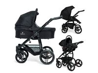 Venicci Vento Travel System (black/black) with all extras and isofix Base