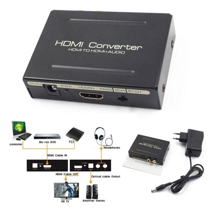 Extractor Converter Audio Splitter NEU 1080P HDMI zu HDMI Optical+SPDIF+RCA L/R