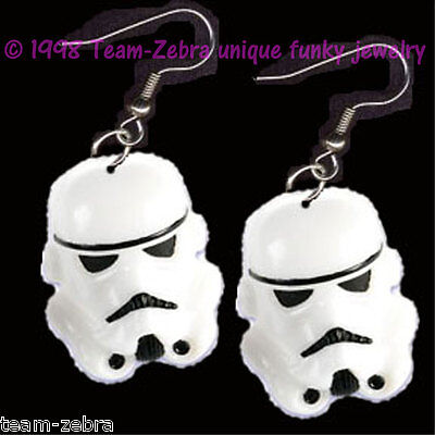 HUGE Funky Star Wars STORMTROOPER EARRINGS Sci-Fi Movie Charms Costume Jewelry - Sci Fi Female Costumes